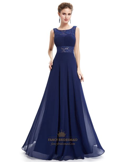 Highwaist Blue Marine navy blue open back chiffon prom dress with lace cut out