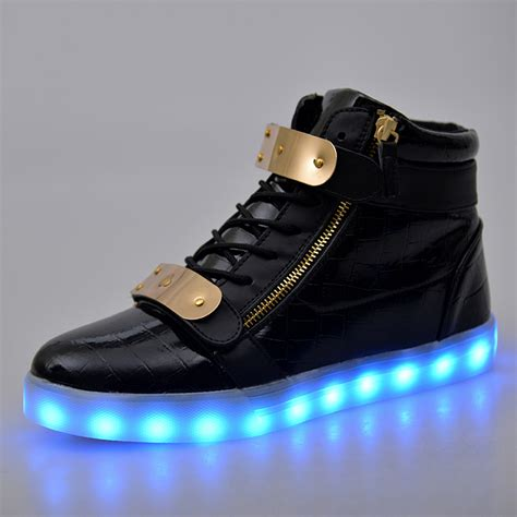 white and gold light up shoes 2016 new men women led shoes white high top light up