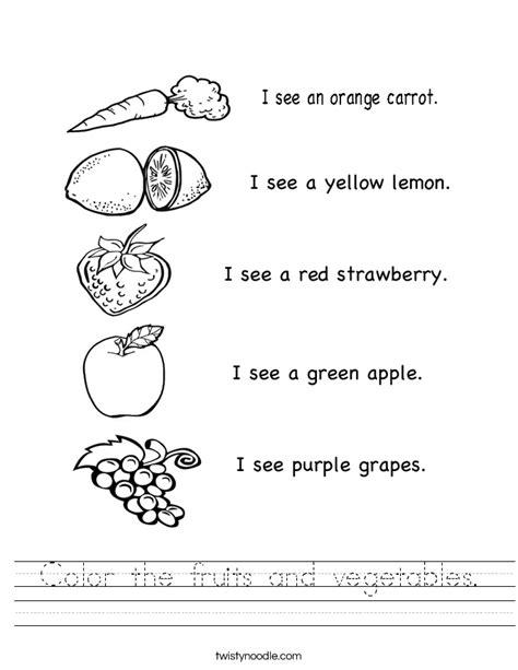 vegetables worksheet color the fruits and vegetables worksheet twisty noodle