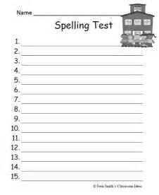 Test Template For Teachers Free by Fern S Freebie Friday School Themed Blank Spelling Test
