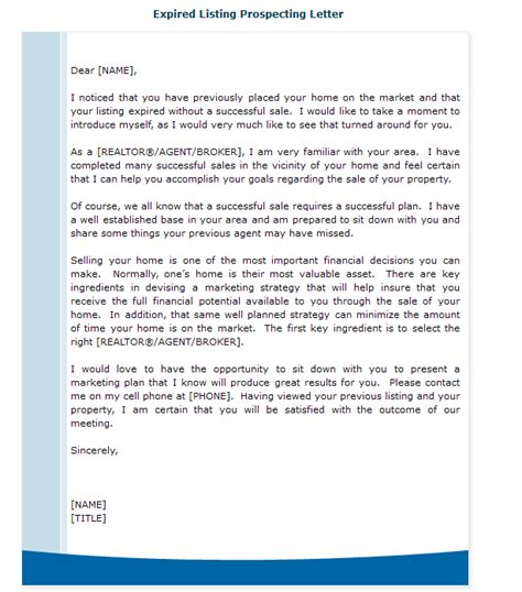 Expired Listing Letter Levelings Expired Listing Template