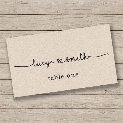 rustic place card templates printable card template place card template