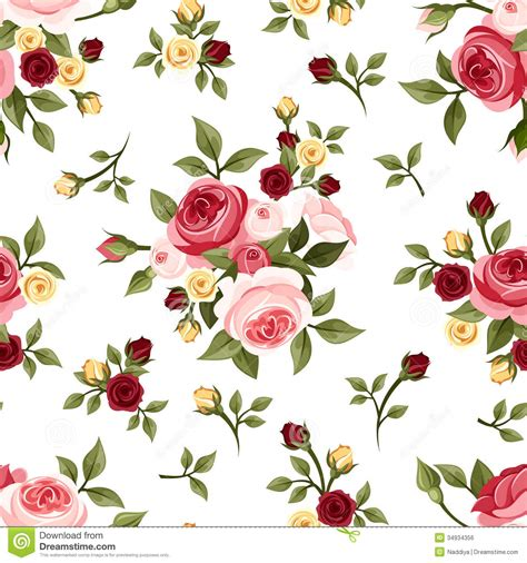 pink rose pattern clipart vintage seamless pattern with roses stock vector