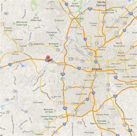 map of atlanta with exits directions to the park six flags