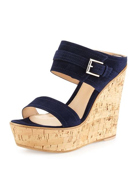 Wedges 2 Ban gianvito suede band wedge sandal neiman