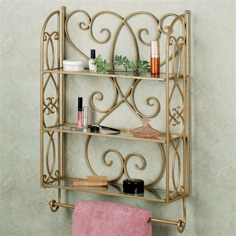 Brown Bathroom Wall Cabinet by Brown Iron Carving Wall Cabinet With Shelves And Towel Bar