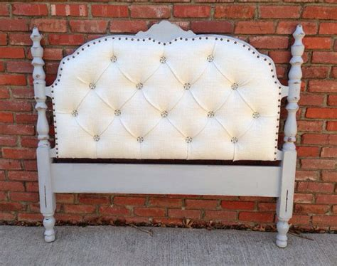 Vintage Upholstered Headboard Tufted Gray Wood Frame Pearl How To Make A Upholstered Headboard With Buttons