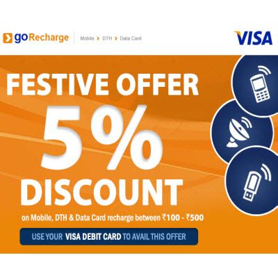 mobile dth and datacard recharge 5 off on rs 100 for visa cards gorecharge com - Visa Gift Card Recharge
