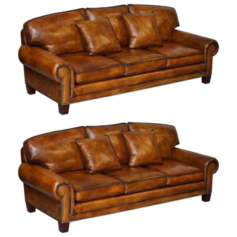 ralph lauren leather sofa sale pair of brand new ralph lauren jamacia hand dyed brown