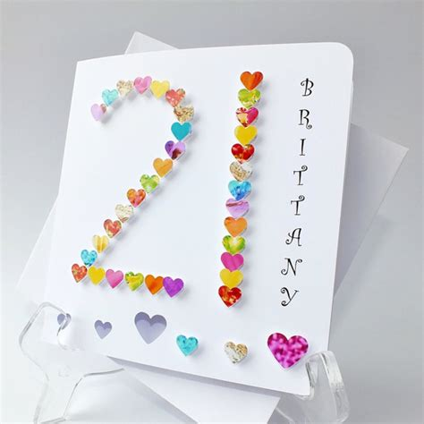 Handmade 21 Birthday Card - handmade 3d 21 card personalised 21st birthday card