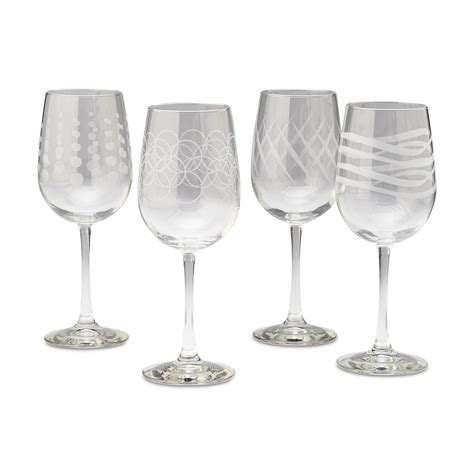 etched barware libbey 4 piece etched wine glasses