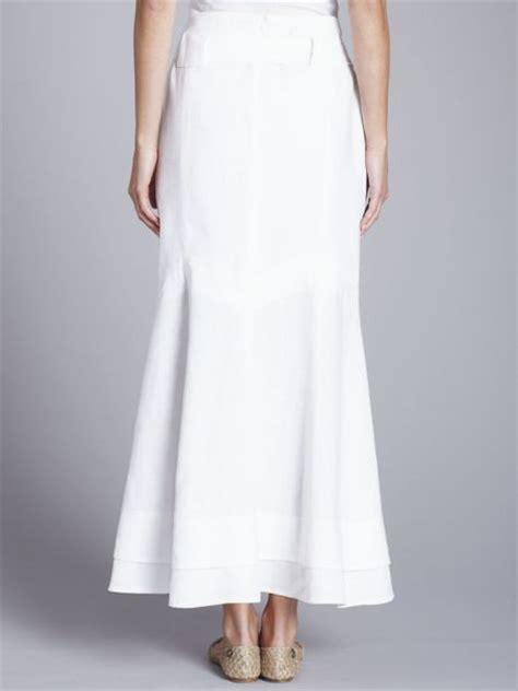 paul costelloe linen maxi skirt white in white lyst