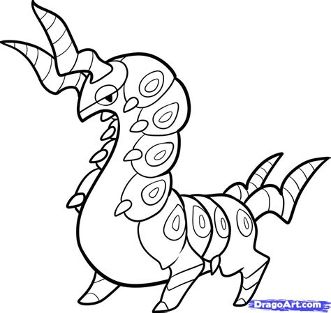 Pokemon Coloring Pages Scolipede | how to draw scolipede scolipede step by step pokemon
