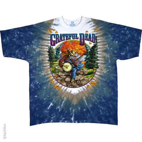 wholesale grateful dead banjo tie dye t shirt liquid blue