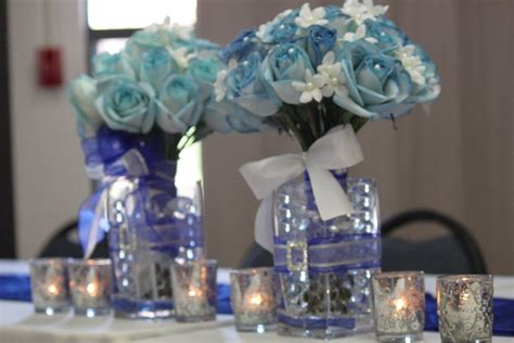 blue and silver centerpiece royal blue and silver