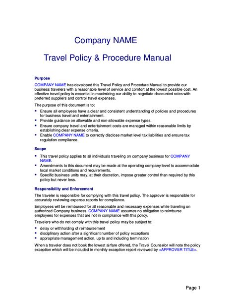 19 Travel Policy Exles Sles Travel And Entertainment Policy Template