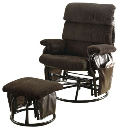 swivel rocker recliner with ottoman chocolate corduroy pu swivel rocker recliner with ottoman