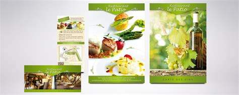 restaurant le patio beziers cr 233 ation enseigne set de table menu flyer restaurant