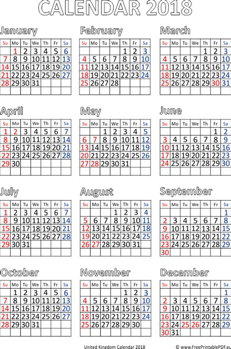 United Kingdom Uk Kalender 2018 United Kingdom 2018 Calendar Pdf Free Printable Pdf