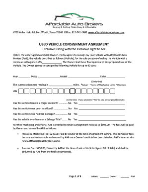 consignment form for cars complete printable 8 sample consignment agreement forms