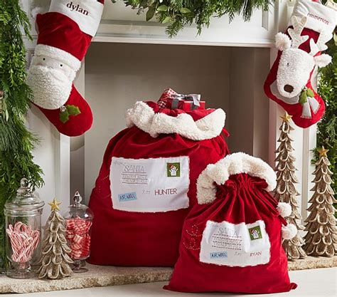red santa sack for babies pictures letters to santa velvet santa bags pottery barn