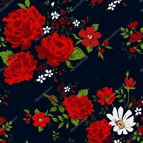 black pattern rose seamless floral pattern with of red roses on black