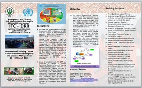 World Health Organization The 6th And 7th Itc Drr Emergency And Disaster Management Training Emergency Preparedness Brochure Template