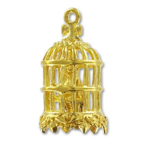 gabbia uccello ciondolo gabbia per uccello mm 21 dorato x1 perles co