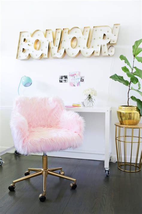 pink furry desk chair 10 pink diy furniture makeovers for girlish spaces