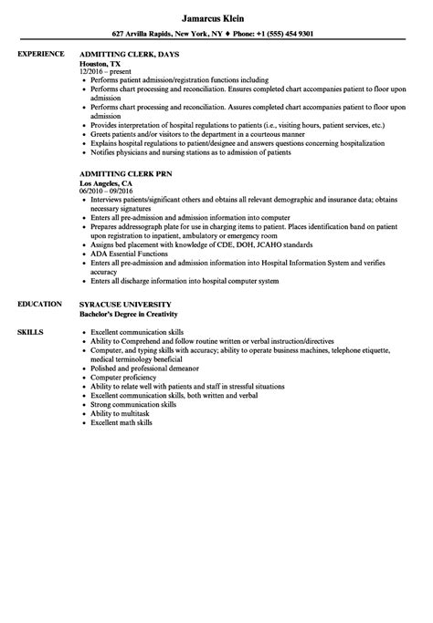 Admitting Registrar Sle Resume by Admitting Clerk Resume Sles Velvet