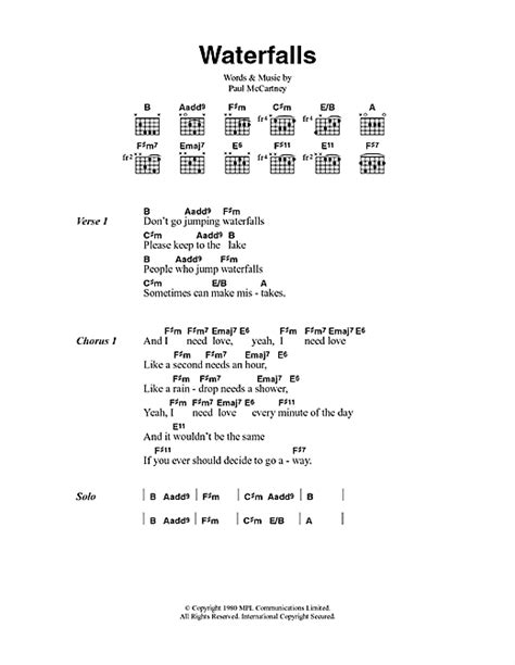 my lyrics paul mccartney waterfalls sheet by paul mccartney lyrics chords