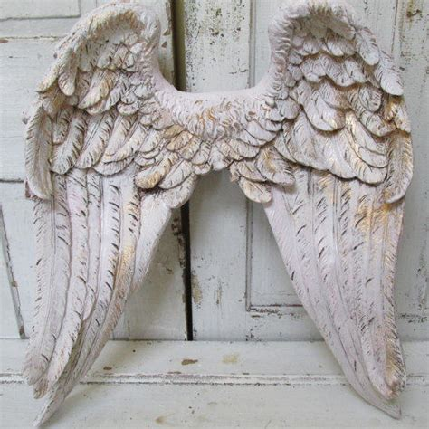 angel wings wall decor white pink tinted