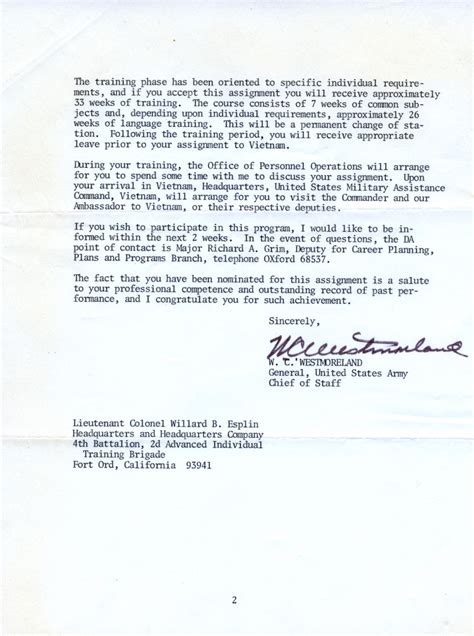 us army appointment letter appointment letter from general william westmoreland