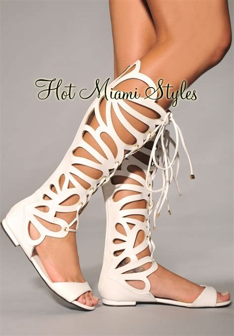 Dress Daster Midi Cleopatra white cut out knee high gladiator sandals