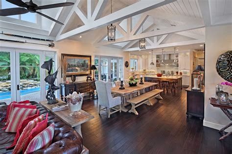 farmhouse great room decorating ideas dining room rustic with open floor plan incandescent