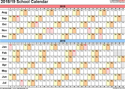 2018 2019 School Year Calendar Template