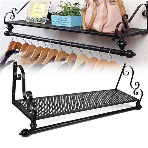 Wall Mounted Clothes Rack With Shelf by New Retro Metal Clothes Rail Wall Mounted Garment Hanging