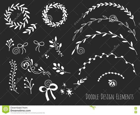 doodle elements 190 isolated doodle design elements stock