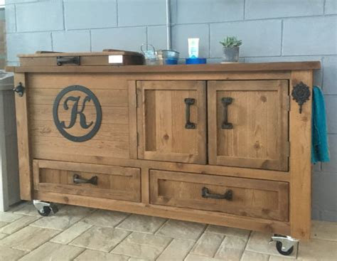 Outdoor Bar Cabinet Custom Outdoor Cabinet Rustic Cooler Bar Cart Grilling Prep