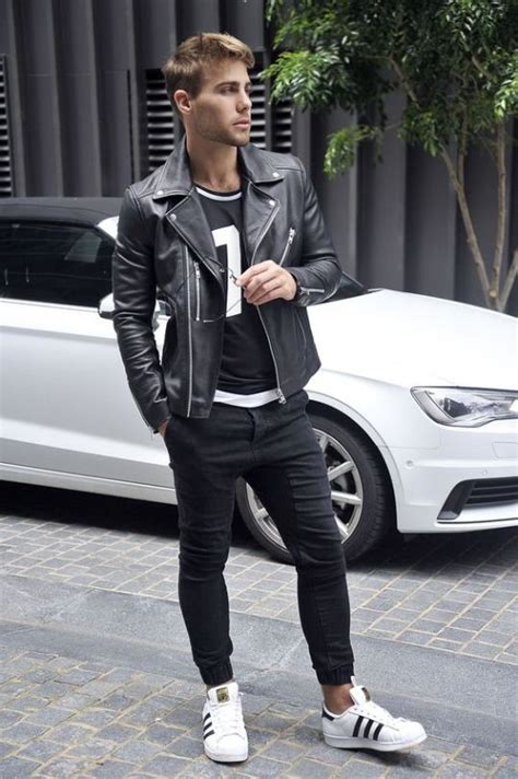 Denim Barn Jacket Picture Of Black Jeans A Sporty Print Tee A Black Moto