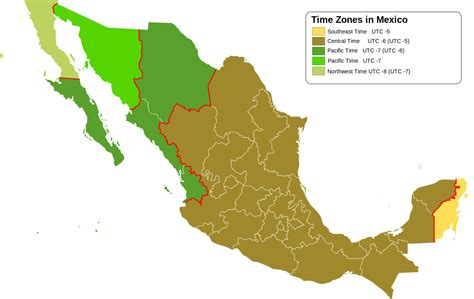 map of us and mexico time zones time in mexico
