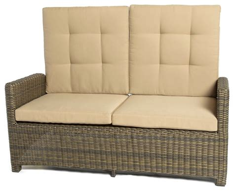 outdoor reclining loveseat crb furniture fiji brown wicker reclining loveseat