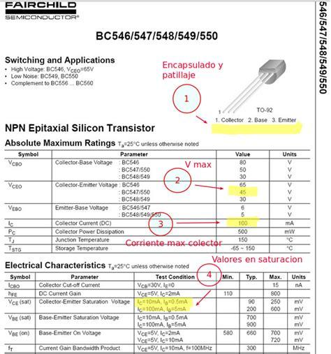 transistor npn bc547 caracteristicas taller programaci 243 n ardublock uso transistor para el de corrientes elevadas