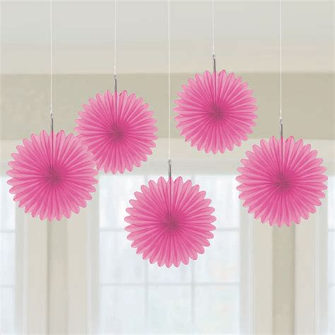 hanging decorations mini fans bright pink 5