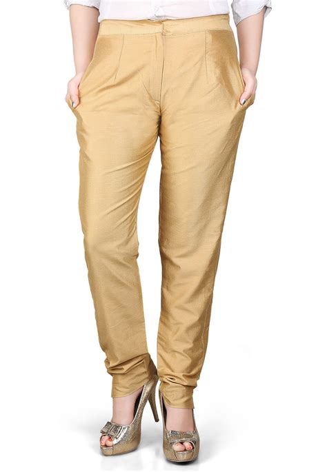 Cotton Pant solid cotton silk pant in beige bnj132