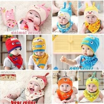 Topi Bayi Set jual paket slaber dan topi bayi grosir hatibunda