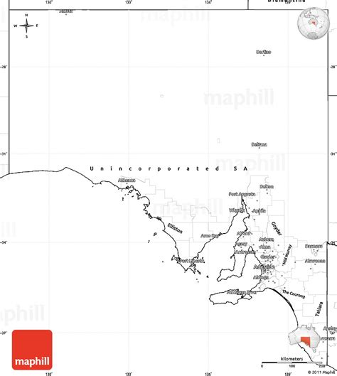 Blank Outline Map South Australia by Blank Simple Map Of South Australia