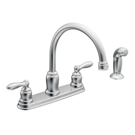 kitchen sink faucets lowes shop moen caldwell chrome 2 handle high arc kitchen faucet with side spray at lowes com