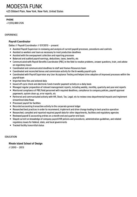 Human Resources Assistant Sample Resume by Payroll Coordinator Resume Sample Velvet Jobs