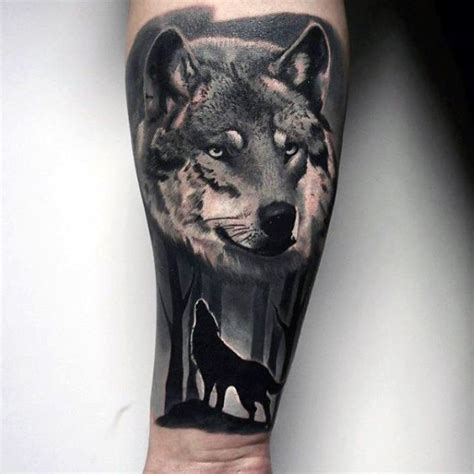 black and grey wolf tattoo 100 forest designs for masculine tree ink ideas